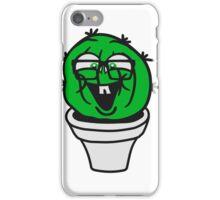small round green sweet cute nerd geek cactus flower pot balcony clever hornbrille face laugh comic cartoon iPhone Case/Skin