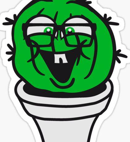 small round green sweet cute nerd geek cactus flower pot balcony clever hornbrille face laugh comic cartoon Sticker