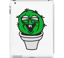 small round green sweet cute nerd geek cactus flower pot balcony clever hornbrille face laugh comic cartoon iPad Case/Skin