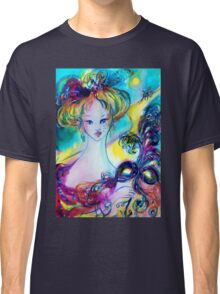 LADY WITH FEATHERED MASK Venetian Masquerade Night Classic T-Shirt