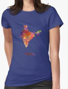 India  in watercolor Womens Fitted T-Shirt