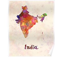 India  in watercolor Poster