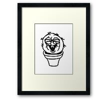 small round green sweet cute nerd geek cactus flower pot balcony clever hornbrille face laugh comic cartoon Framed Print