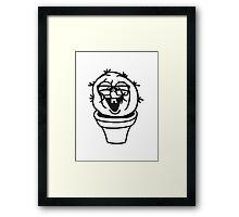 small round green sweet cute nerd geek cactus flower pot balcony clever hornbrille face laugh comic cartoon Framed Print