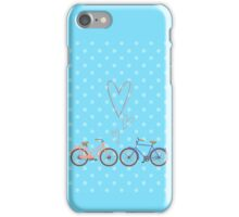 Bike lovers. Blue polka dots background. iPhone Case/Skin