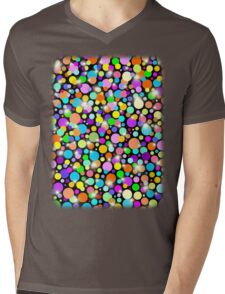 Polka Dots Psychedelic Colors Mens V-Neck T-Shirt