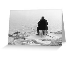 Patience And Hope Fisherman Silhouette Greeting Card