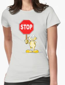 Cartoon with stop sign Womens Fitted T-Shirt