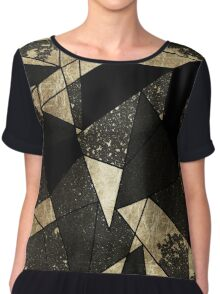Modern Rustic Black White and Faux Gold Geometric Chiffon Top