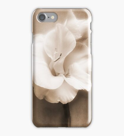 Gladiolus Sepia White Flower Floral Fine Art iPhone Case/Skin