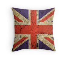 'Cracked Britannia' Union Jack Flag Throw Pillow