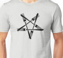 Fork Pentagram (black) Unisex T-Shirt