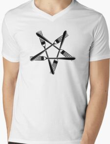 Fork Pentagram (black) Mens V-Neck T-Shirt