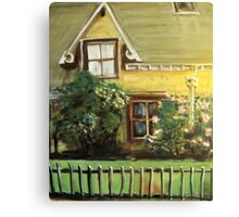Country cottage with roses Canvas Print
