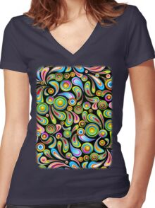 Drops Psychedelic Abstract Pattern   Women's Fitted V-Neck T-Shirt