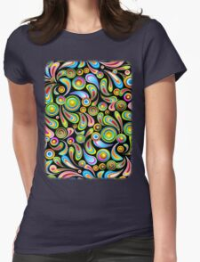Drops Psychedelic Abstract Pattern   Womens Fitted T-Shirt