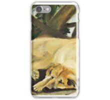 Golden Labrador sleeping in the shade iPhone Case/Skin