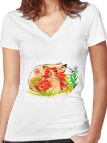 Babies foxes are free Women's Fitted V-Neck T-Shirt