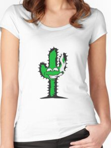 pothead joint smoking drug cigar bong cannabis weed hemp cactus Women's Fitted Scoop T-Shirt