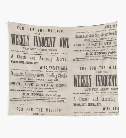 Artist Posters Fun for the million! Read the Weekly Innocent Owl issued every Saturday morning commencing on 15th of June 1867 0391 Wall Tapestry