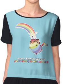 Rainbow Butterfly Unicorn Kitten Chiffon Top