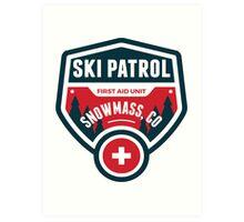 SKI SNOWMASS COLORADO Skiing Ski Patrol Mountain Art Art Print