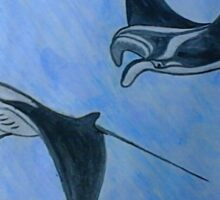 Freediving with Manta Ray Sticker