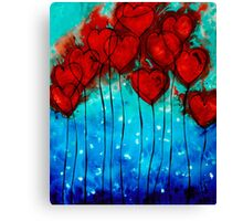 Hearts on Fire - Romantic Art By Sharon Cummings Canvas Print