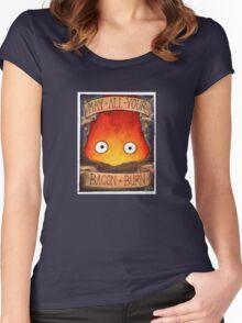 Howl's Moving Castle Illustration - CALCIFER (original)  Women's Fitted Scoop T-Shirt