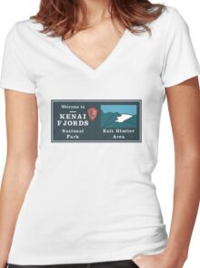 Kenai Fjords National Park Sign, Alaska, USA Women's Fitted V-Neck T-Shirt