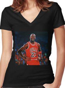 Michael Jordan painting Women's Fitted V-Neck T-Shirt