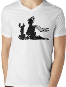 The LITTLE PRINCE and the FOX - stencil grey version Mens V-Neck T-Shirt
