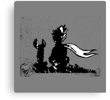 The LITTLE PRINCE and the FOX - stencil grey version Canvas Print