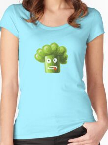Funny Broccoli Pattern Women's Fitted Scoop T-Shirt
