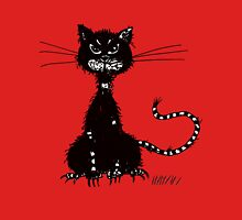 Red Ragged Evil Black Cat Womens Fitted T-Shirt