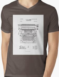 Underwood Vintage Antique Typewriter Patent Drawing Design Mens V-Neck T-Shirt