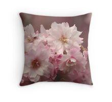 Neighborhood Pink Cherry Blossoms Throw Pillow