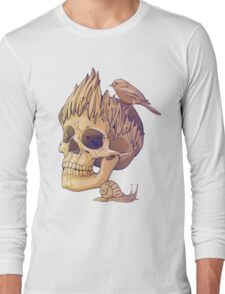 colorful illustration with skull, bird and snail Long Sleeve T-Shirt