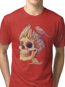 colorful illustration with skull, bird and snail Tri-blend T-Shirt