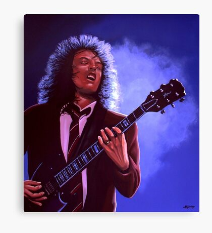 Angus Young of AC / DC painting Canvas Print