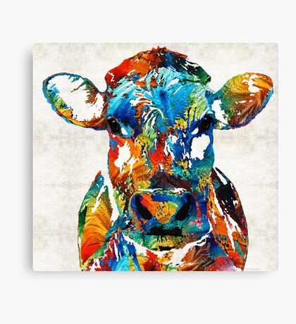 Colorful Cow Art - Mootown - By Sharon Cummings Canvas Print
