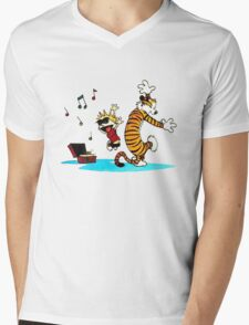 Calvin and Hobbes Music  Mens V-Neck T-Shirt