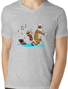 Calvin and Hobbes Music  Mens V-Neck T-Shirt