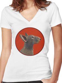 English Bull Terrier Dog Women's Fitted V-Neck T-Shirt