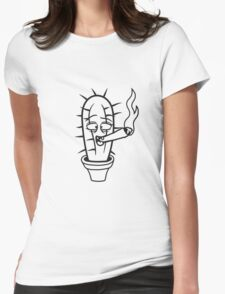 cactus pothead weed joint drug smoking hemp cannabis bong cigar funny comic face weed stoned Womens Fitted T-Shirt