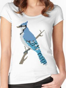 Pixel Blue Jay Women's Fitted Scoop T-Shirt