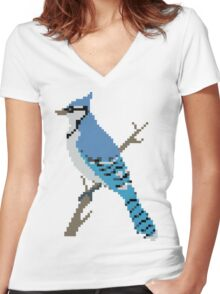 Pixel Blue Jay Women's Fitted V-Neck T-Shirt