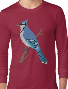 Pixel Blue Jay Long Sleeve T-Shirt