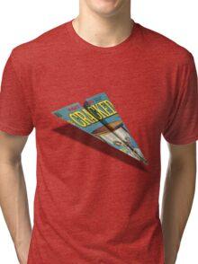 CRACKED Paper Airplane 109 Pattern Tri-blend T-Shirt