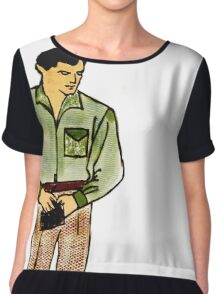 Retro Pop Art Portrait Male with Wallet Chiffon Top